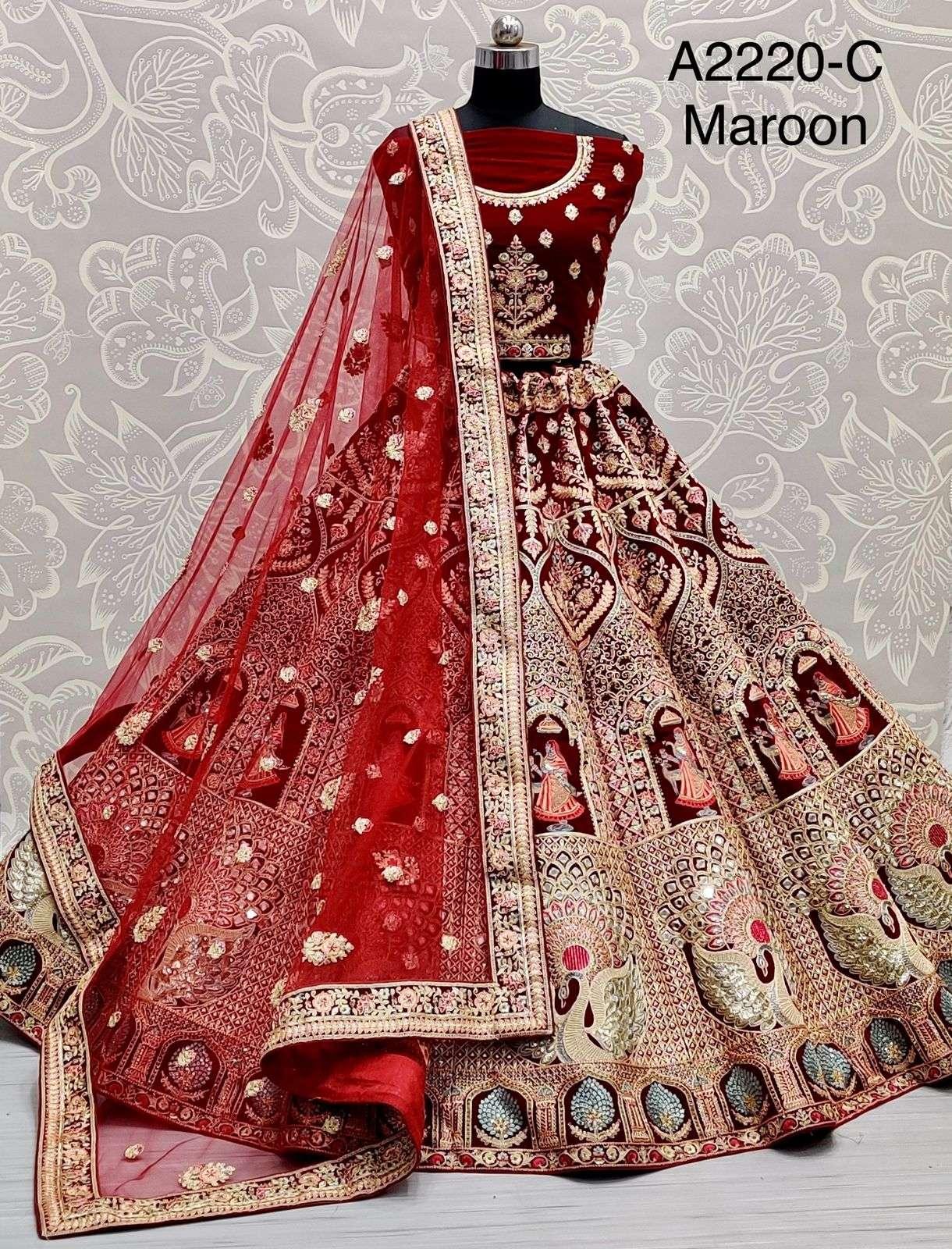 A2220 Velvet with multi thread work designer bridal wear lehenga choli