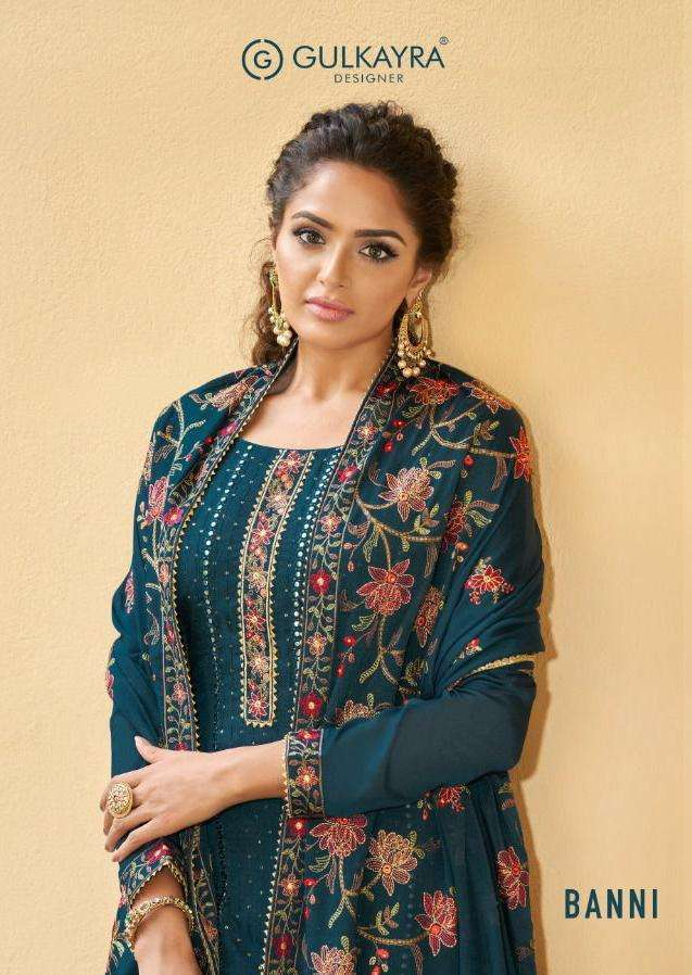 Aashirwad Creation Gulkayra Banni Georgette with embroidery Work Dress Material Collection