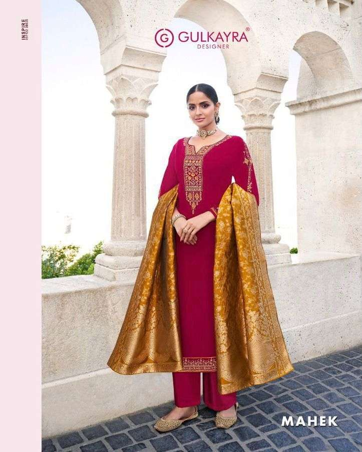 Aashirwad Creation Gulkayra Mahek Georgette With Embroidery Work Dress Material collection
