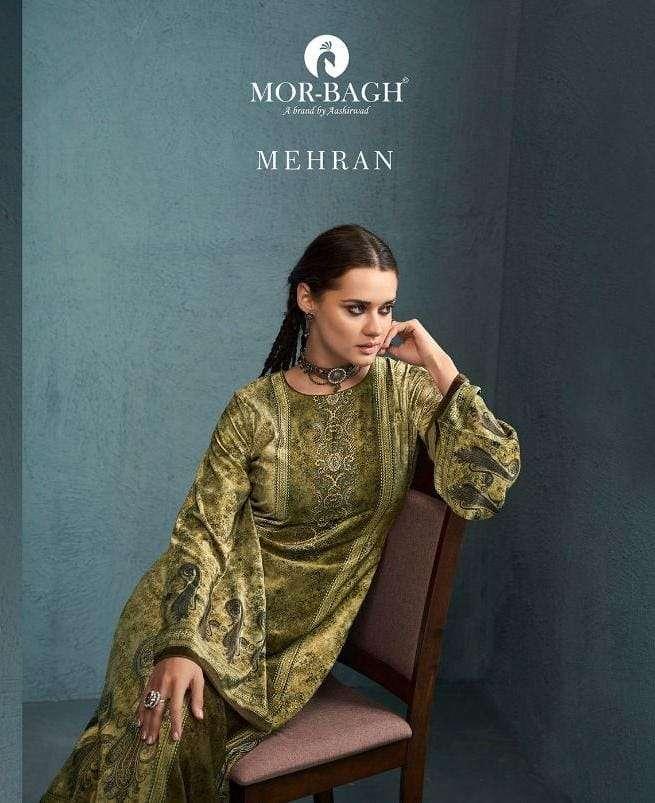 Aashirwad Creation mor bagh Mehran Velvet Digital print Dress Material collection