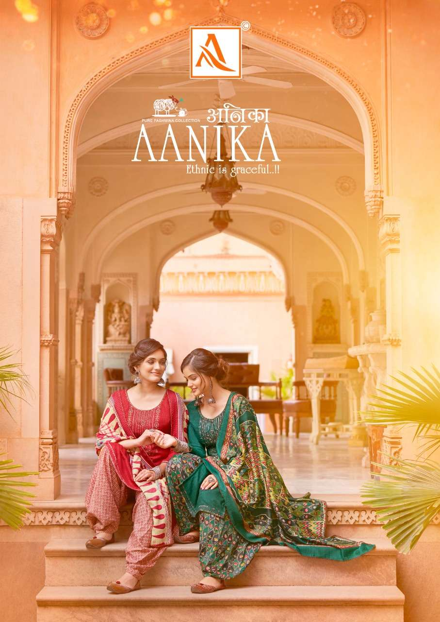 Alok Suits Aanika Wool Pashmina Print With Embroidery Work Dress Material collection