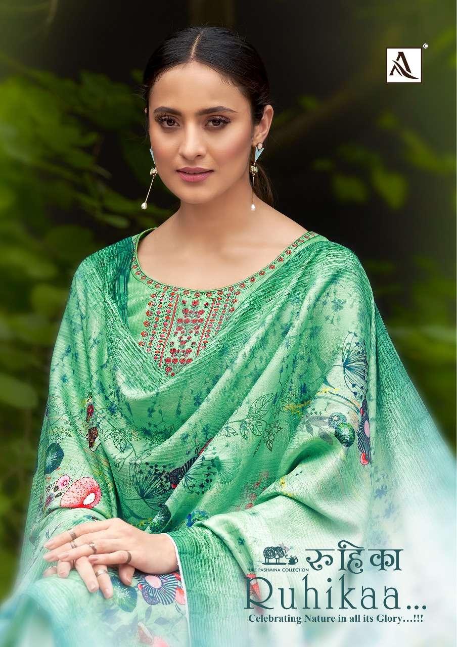 Alok Suits Ruhikaa Pure Wool Pashmina Digital print With Swarovski Diamond Work Winter Suits