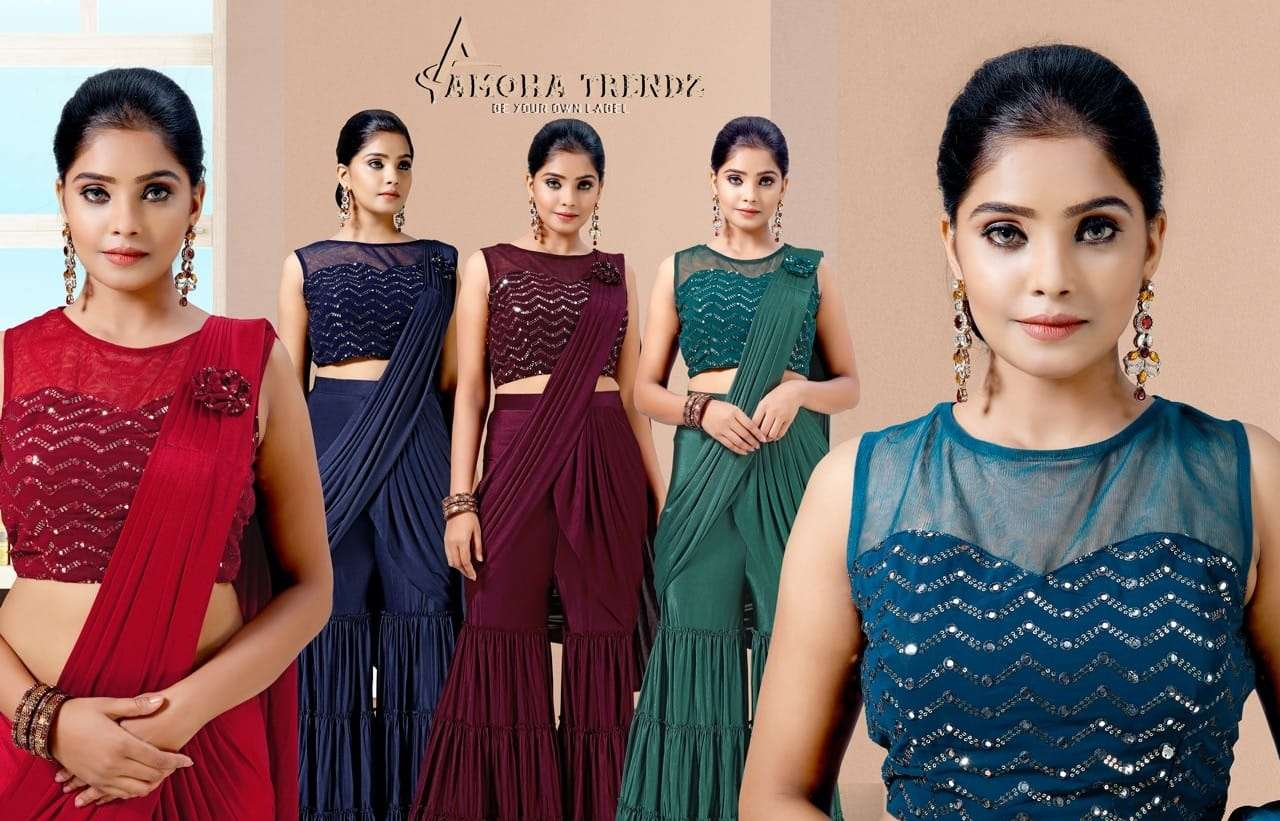 Amoha trendz ready to wear party wear saree collection 1015573