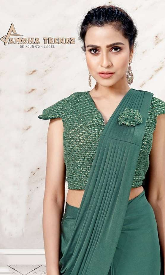 Amoha trendz ready to wear party wear saree collection 1015608
