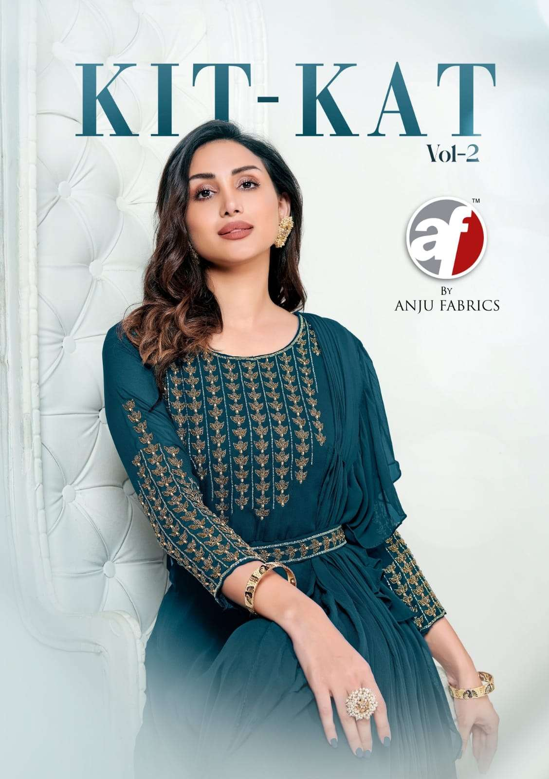 Anju Fabrics Kit kat Vol 2 Viscose georgette Chinon With Work Designer Gown Style Kurtis collection