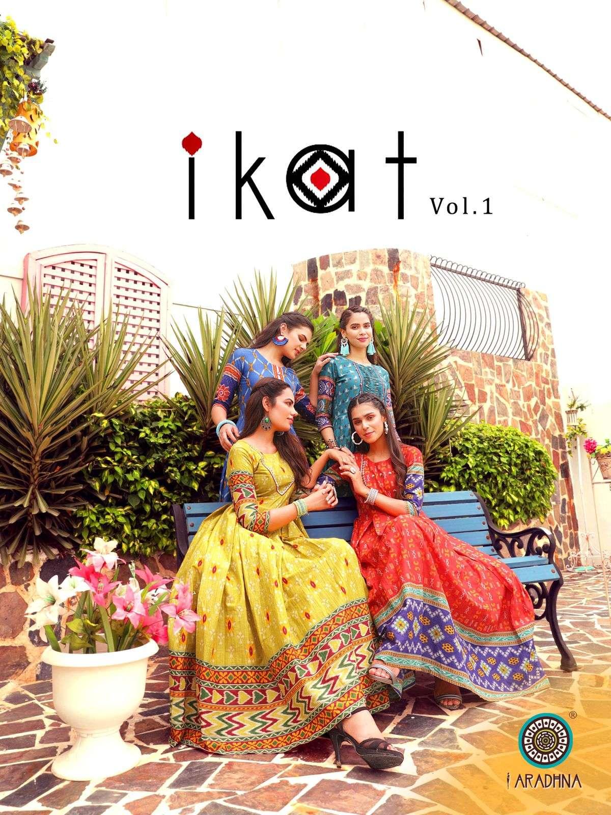 Aradhna Fashion Ikat Vol 1 Cotton With work Kurtis Collection