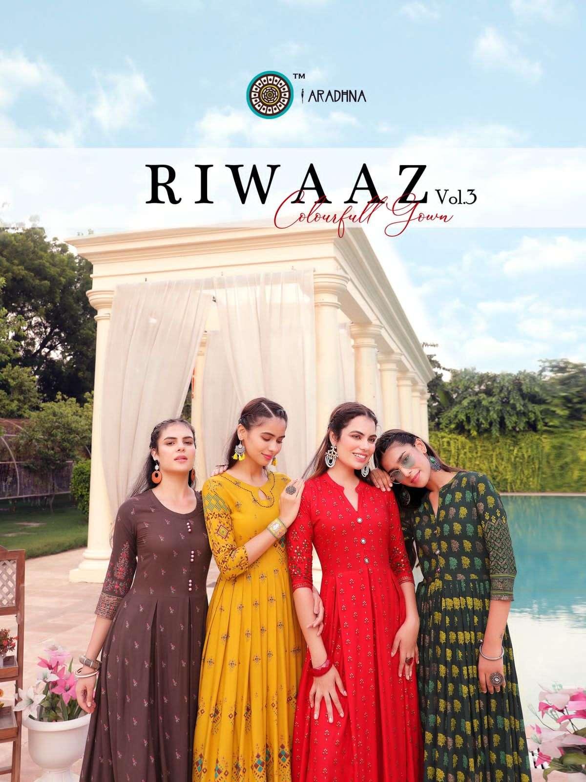 Aradhna Fashion Riwaaz Vol 3 heavy Rayon Long Anarkali Kurtis collection