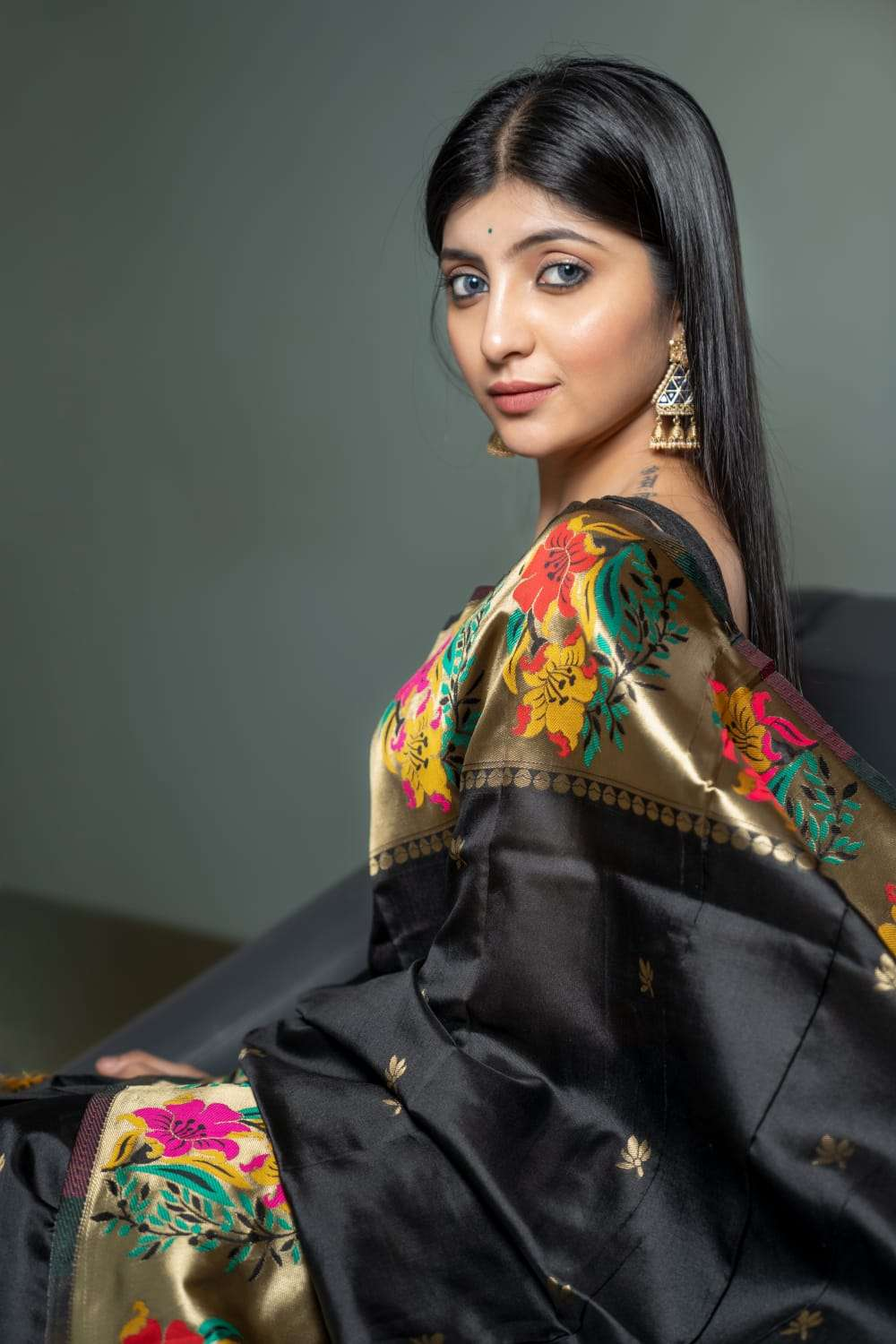 ART SILK WITH JAQURED WEAVING BLACK SAREE COLLECTION