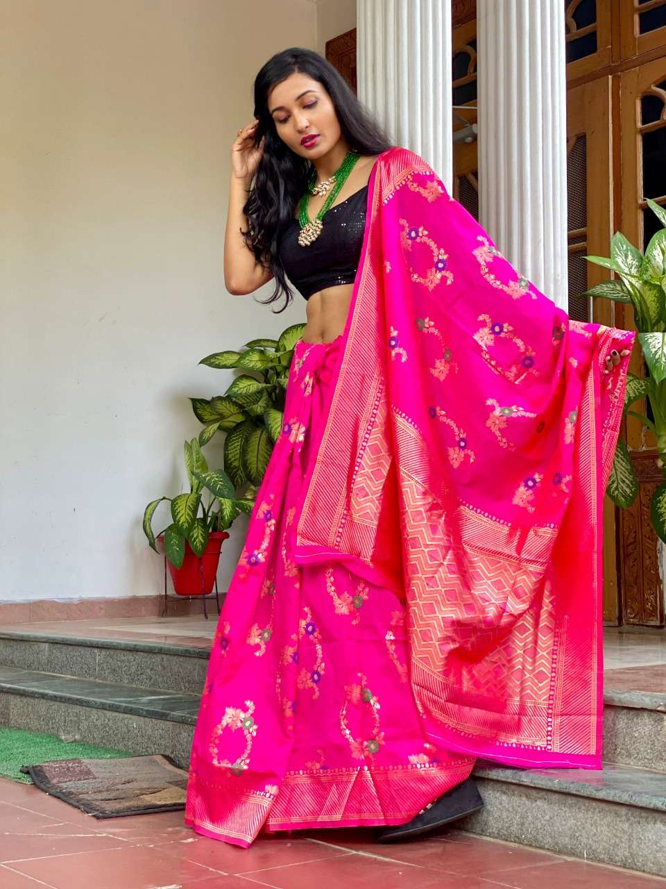 Art silk with weaving designer pink saree collection  18561