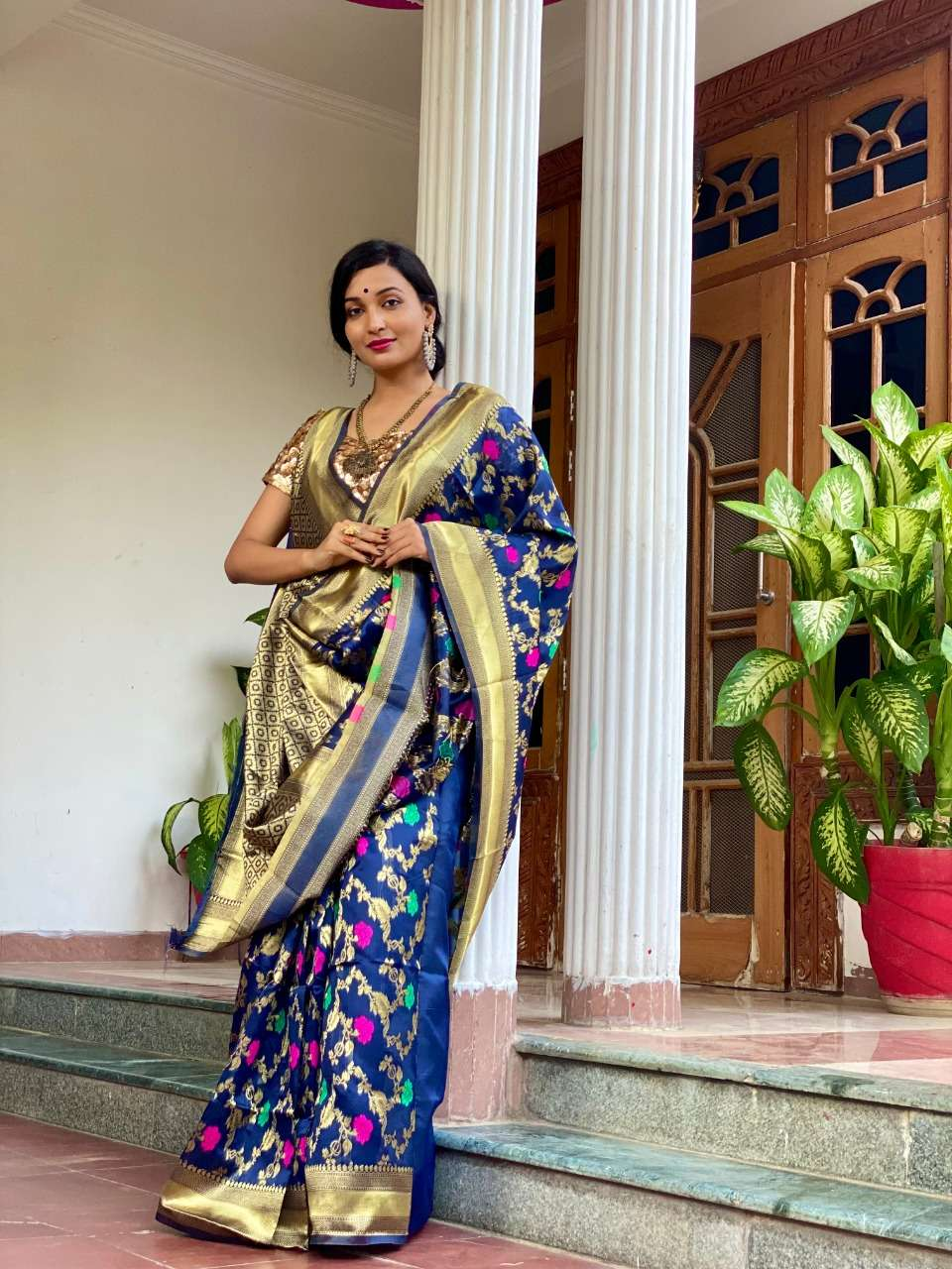 Art silk with weaving party wear saree collection