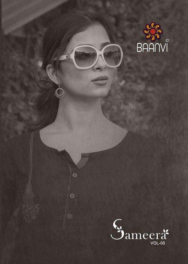 Baanvi Sameera Vol 5 Rayon With Embroidery Work Kurtis Collection