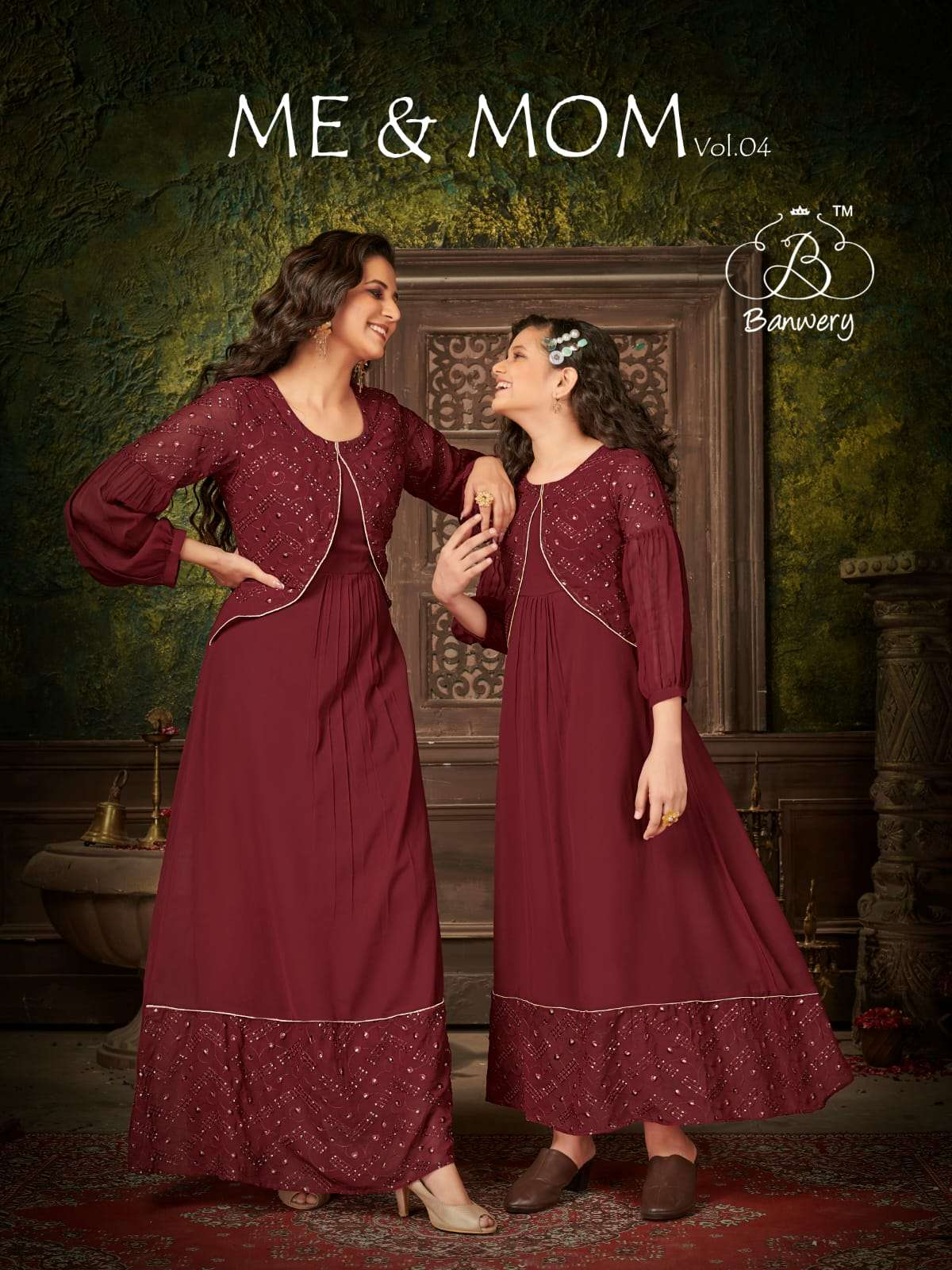 banwery Me And Mom Vol 4 Georgette With Work Mother Daughter Kurtis Combo