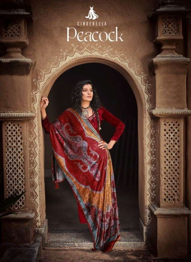 Cinderella Peacock velvet With Work Pashmina Suits Collection