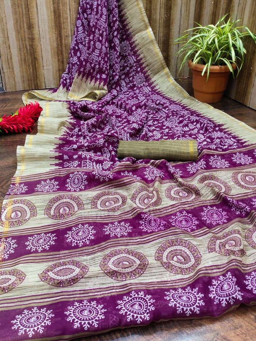 Cotton flex with printed saree collection