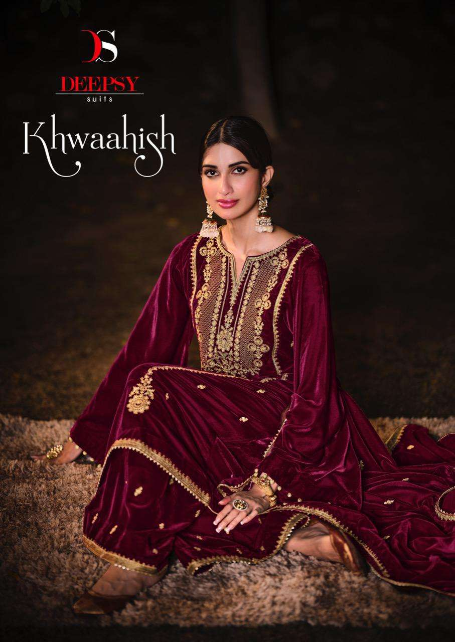 Deepsy Suits Khwaahish Velvet with Embroidery Work Pakistani Pashmina suits collection
