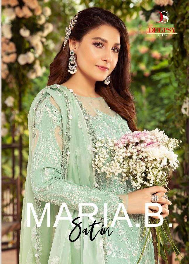 Deepsy Suits Maria B satin Silk With Embroidery Work Pakistani Suits Collection