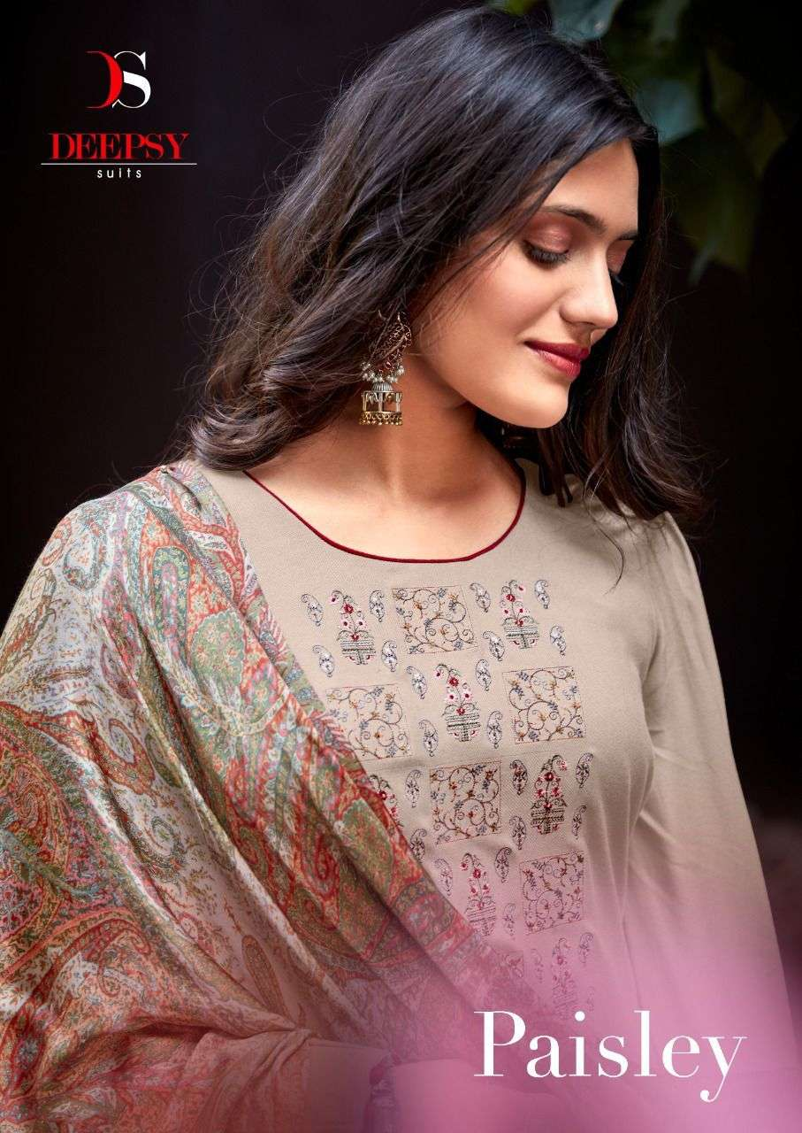 Deepsy Suits Paisley Viscose pashmina With Embroidery work Dress Material Collection