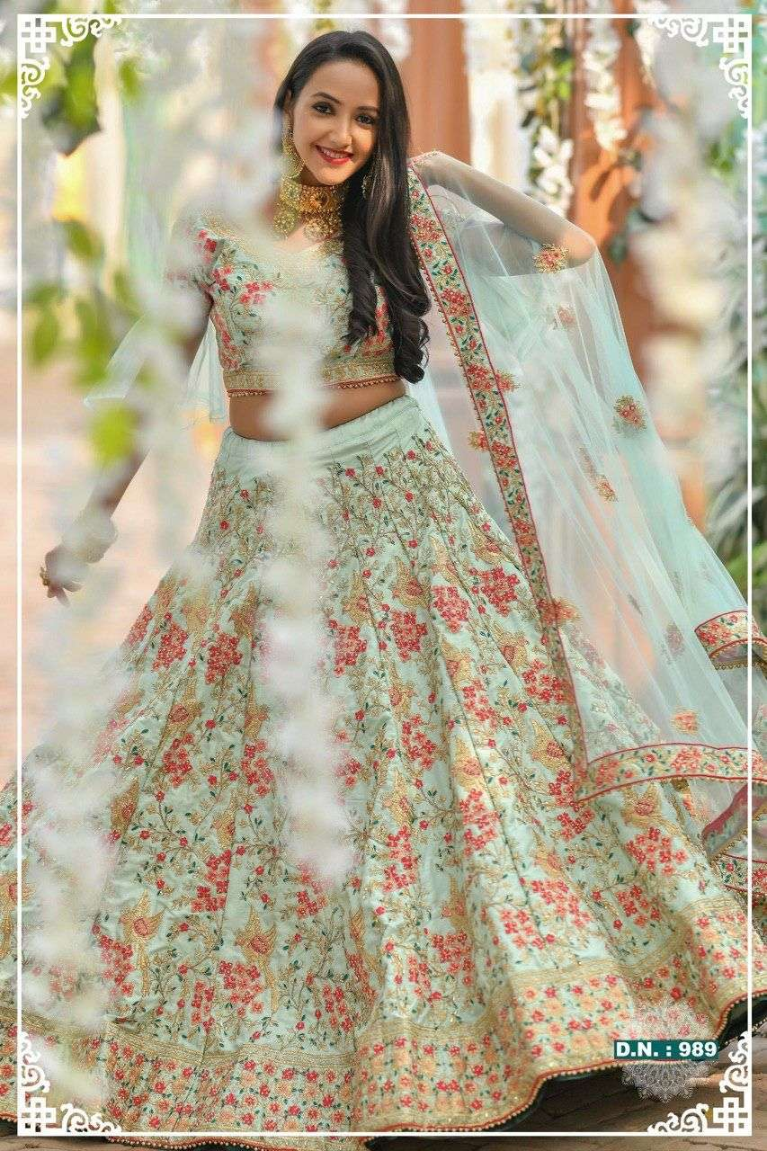 Designer silk with jari work weeding wear lehenga choli collection 989