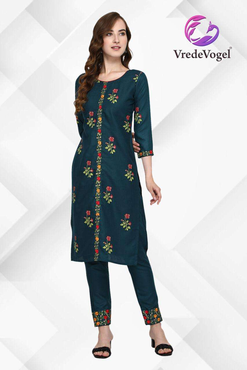Fabulous Cotton Foil Print With Embroidery Work Kurti Pant Collection