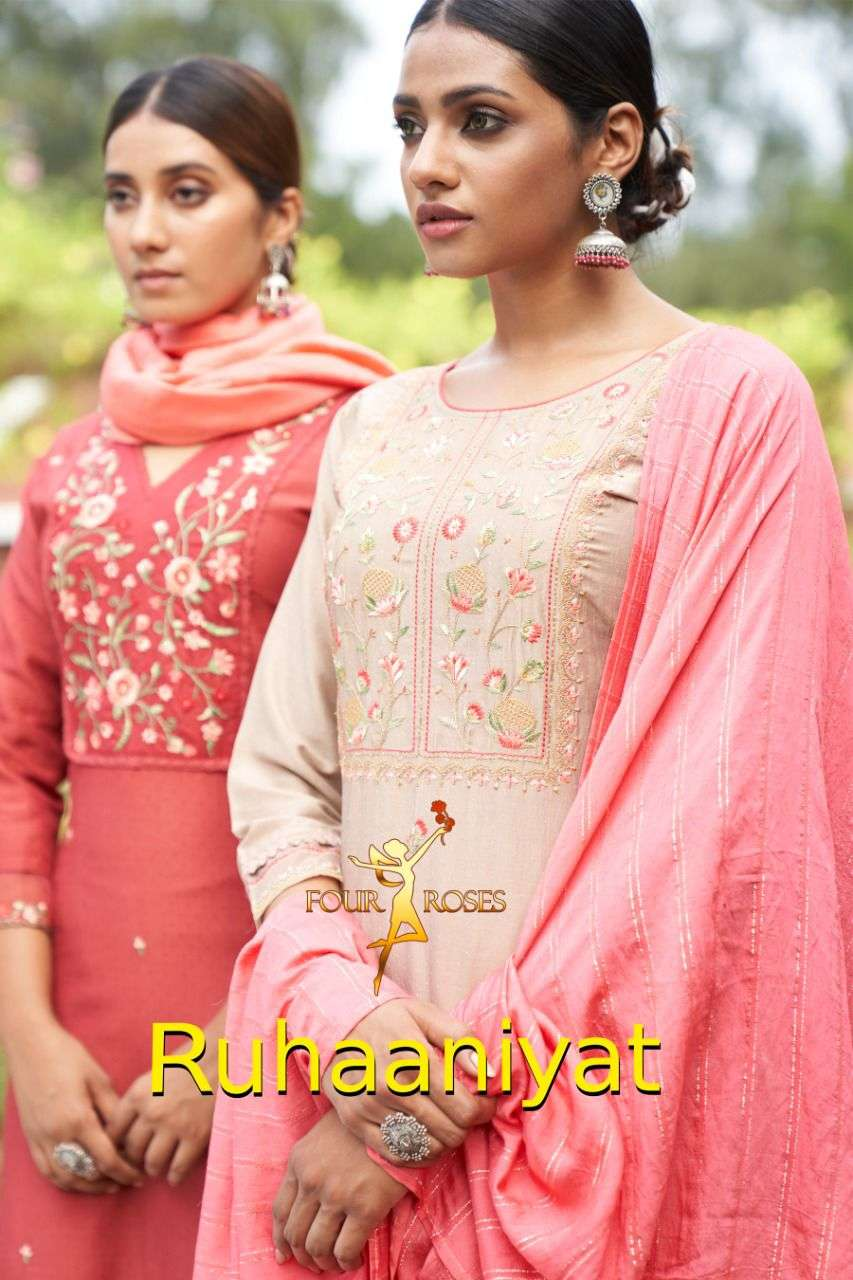 Four Roses Ruhaniyat Chinon With Embroidery Work readymade Suits Collection