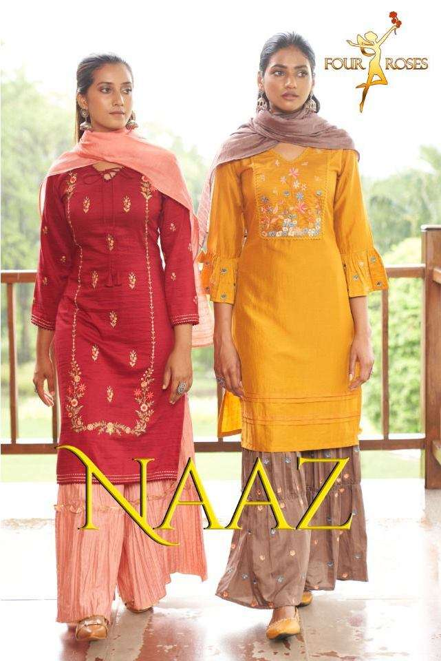 Four Roses Naaz chinon with Work readymade Suits collection