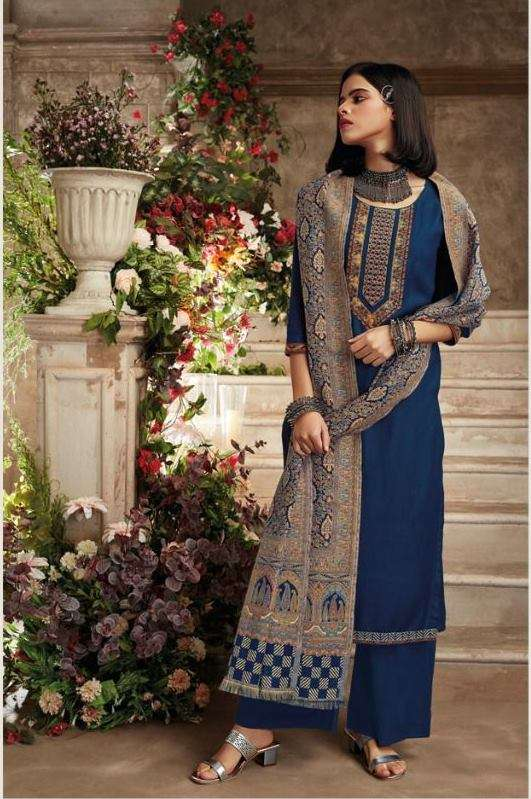 Ganga Noura Wool Dobby Solid With Embroidery Work Dress Material Collection