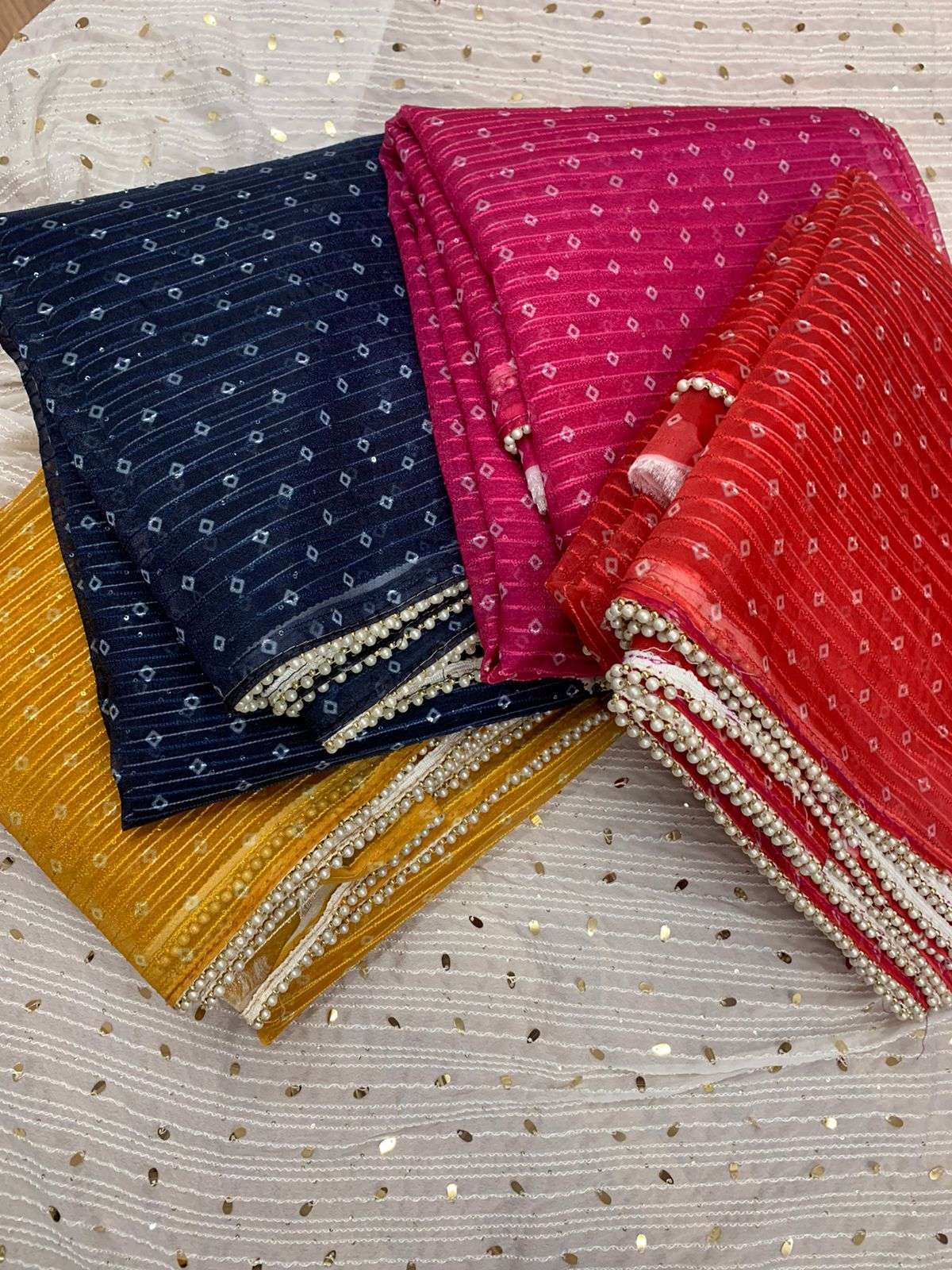 Georgette with bandhej print party wear saree collection