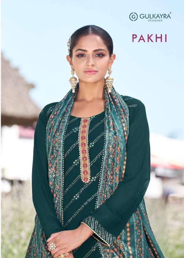 Gulkayra Pakhi Georgette With Embroidery work Dress material collection