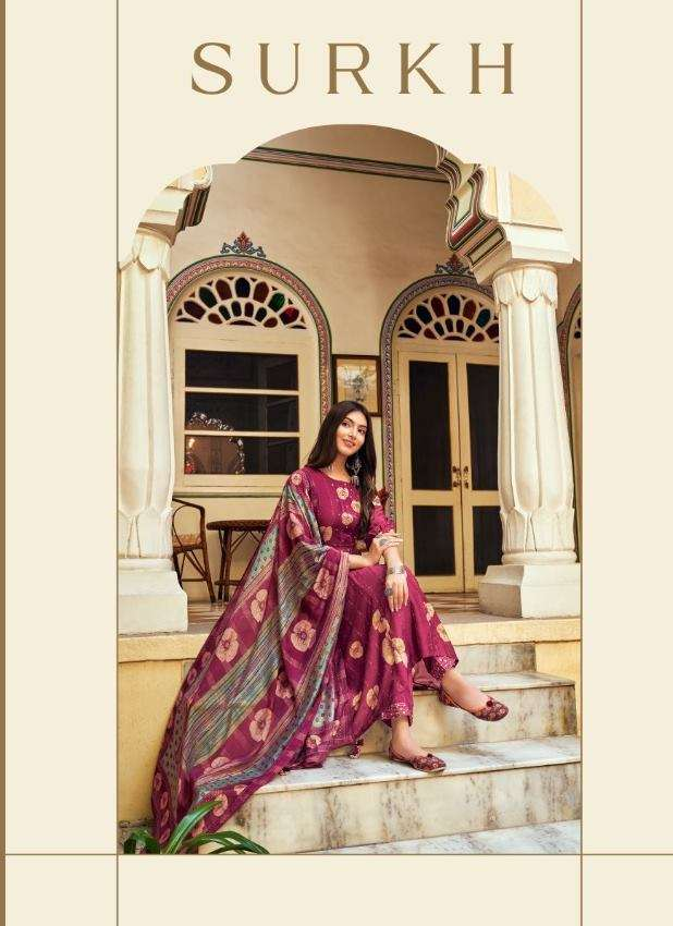 Jay Vijay Surkh Bemberg Silk Silk With Embroidery Work Dress Material Collection