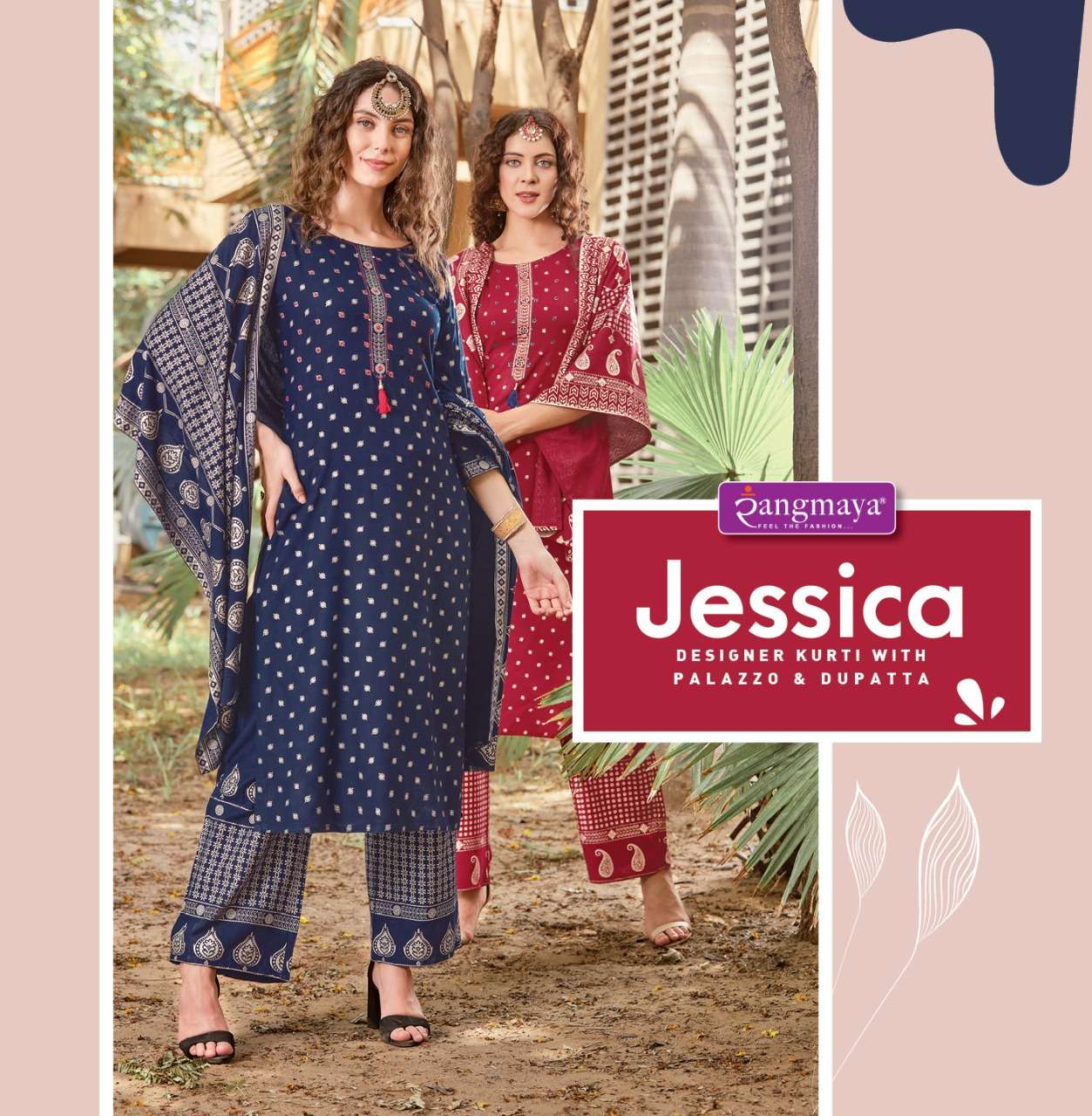 Jessica Rayon Kurti with Bottom Dupatta collection