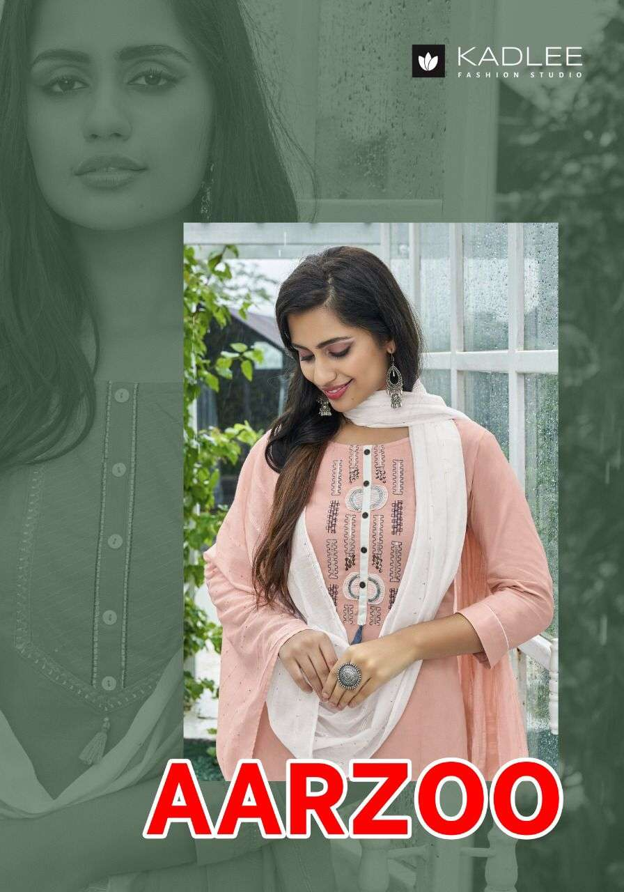 Kadlee Aarzoo Rayon With Embroidery Work Kurti With Bottom Dupatta Collection