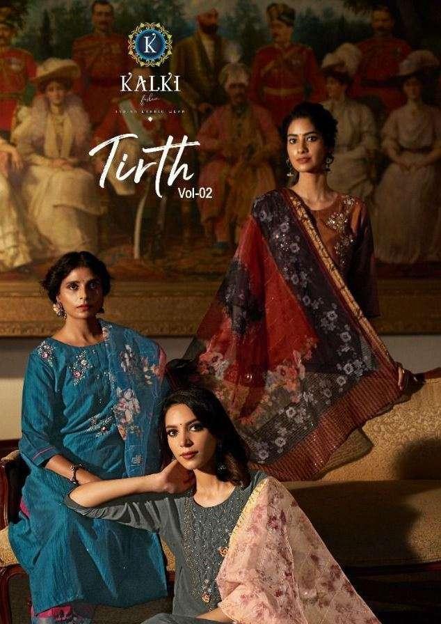 Kalki fashion Tirth Vol 2 Viscose Silk with hand Khatli Work Suits Collection