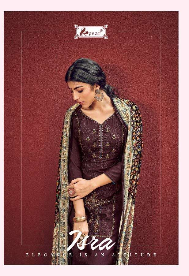 Kesar Isra Viscose Pashmina With Kashmiri Embroidery Work Dress material collection