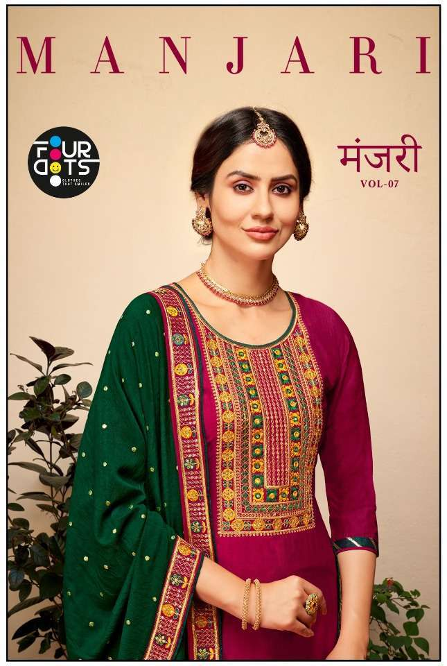 Kessi Fabrics Four Dots Manjari Vol 7 Silk with coding Embroidery wit Sequence Work Dress Material collection