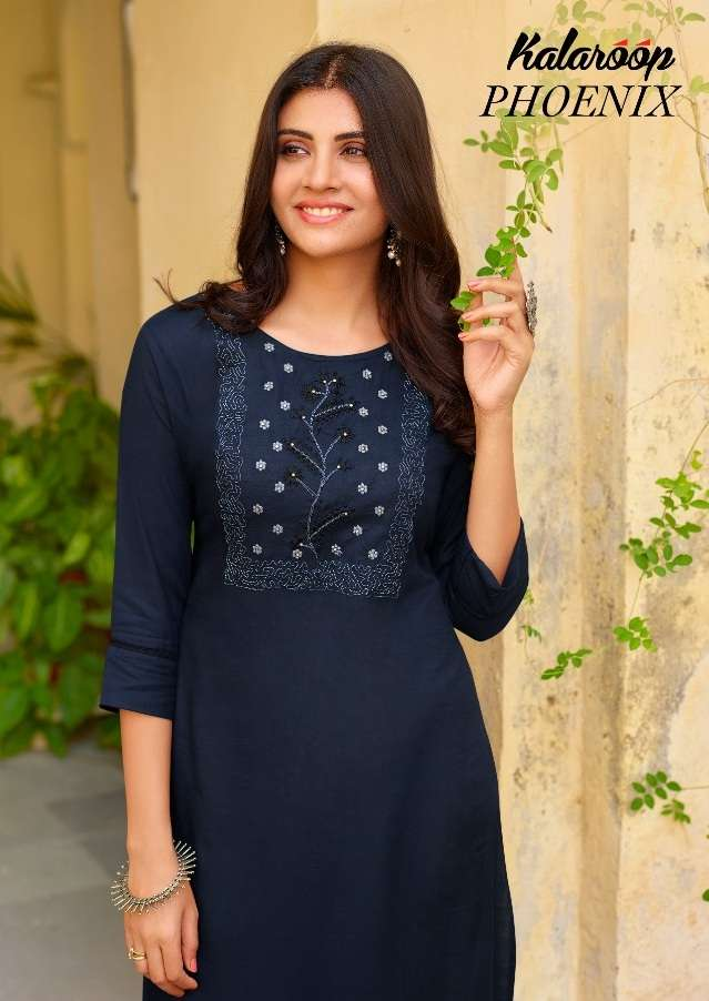 Kessi fabrics Kalaroop Kajree Phoenix Rayon With Embroidery Work Kurtis Collection