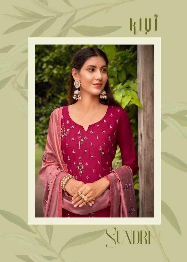 Kessi fabrics Kivi Sundri Rayon With Embroidery Khatli Work Readymade Suits Collection