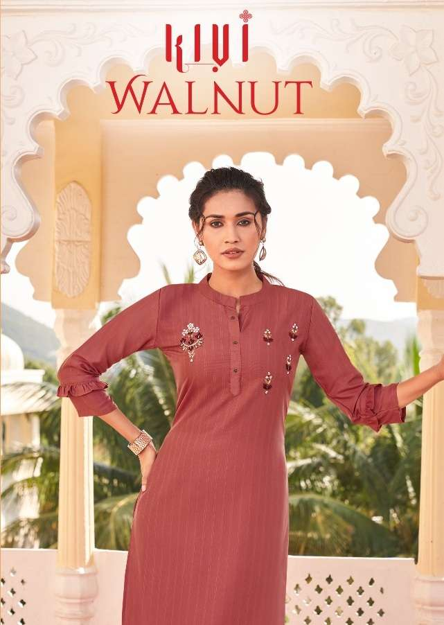 Kessi fabrics Kiwi Walnut Fancy Khatli Work Kurtis collection