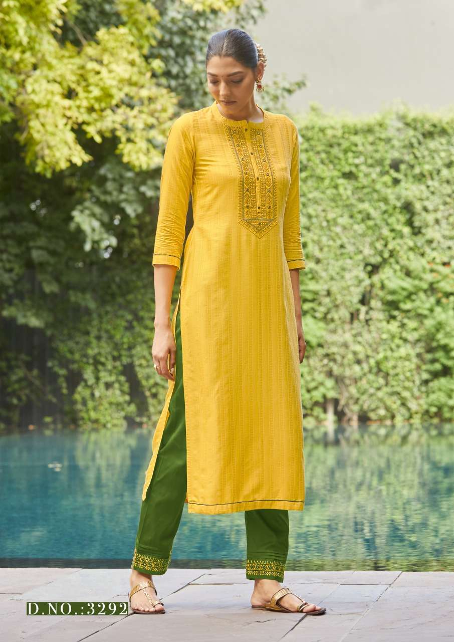 Kessi fabrics Rangoon Light Line Vol 9 Fancy lining Silk With Work Kurtis collection