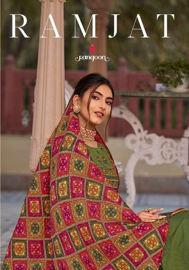 Kessi fabrics Rangoon Ramjat Viscose Khatli With mirror Work Dress Material Collection