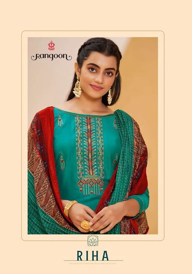 Kessi fabrics Rangoon Riha Fancy Silk With Embroidery work readymade Suits Collection
