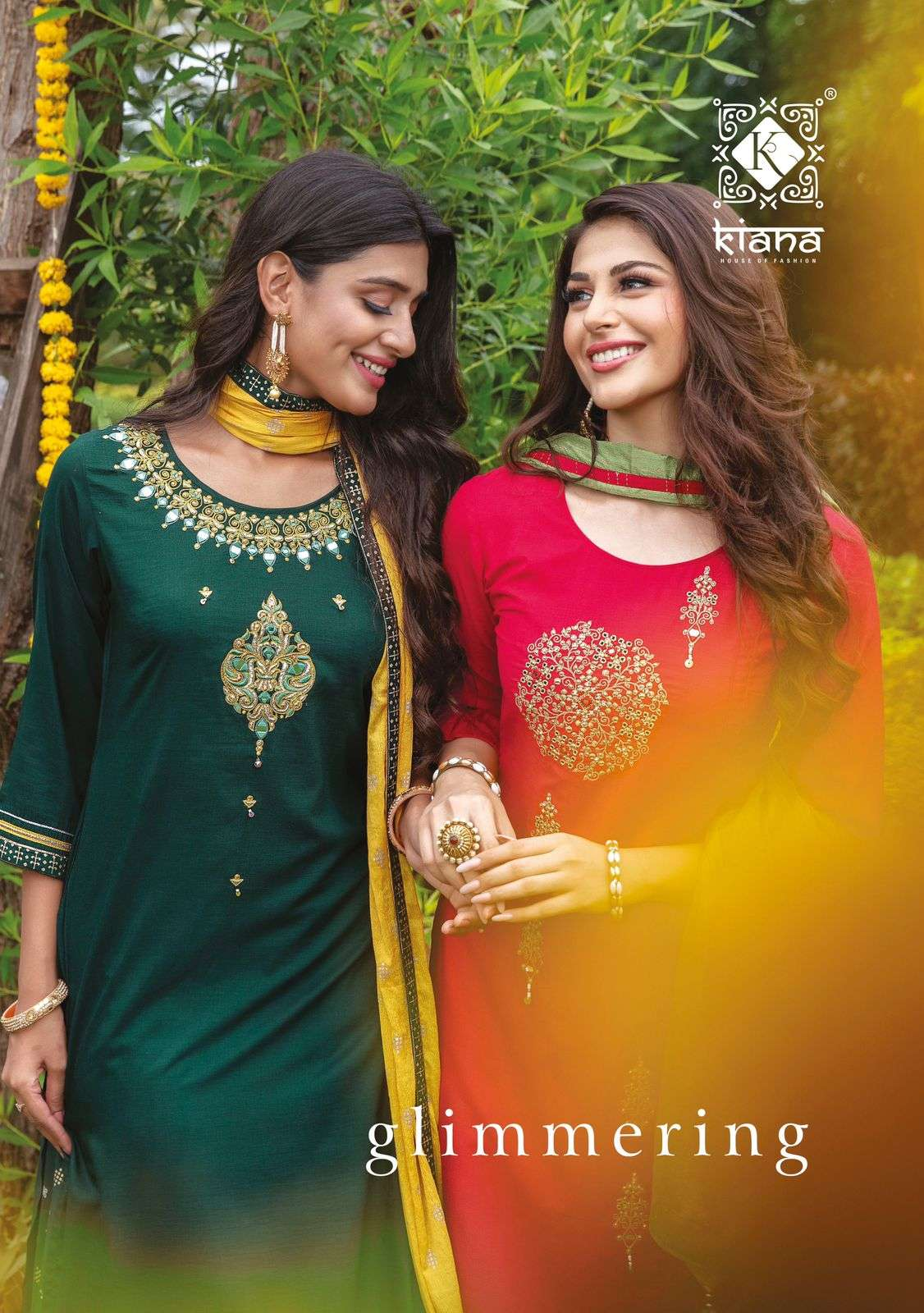 Kiana Glimmering Muslin Gold Print With embroidery Work readymade Suits Collection