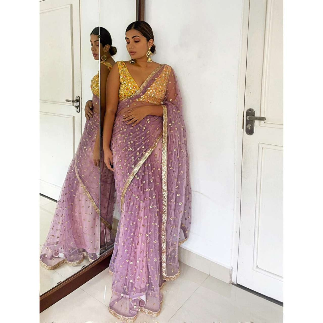 KT 224 NYLONE BUTTERFLY NET WITH SEQUNCE WORK SAREE COLLECTION