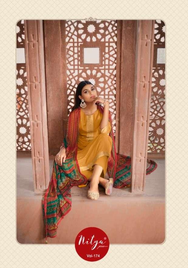 LT Fabrics Nitya Vol 174 Dola Jacquard With work Dress Material collection