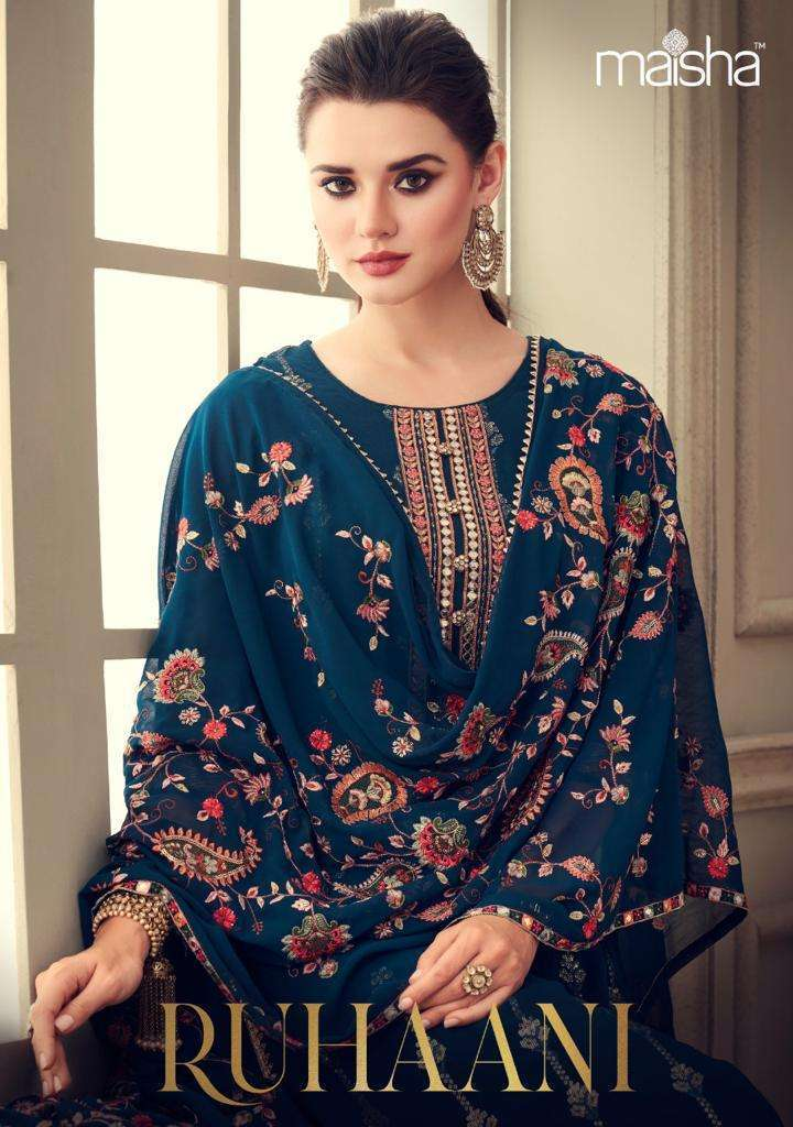 Maisha Ruhaani Georgette With Embroidery Work Dress Material Collection
