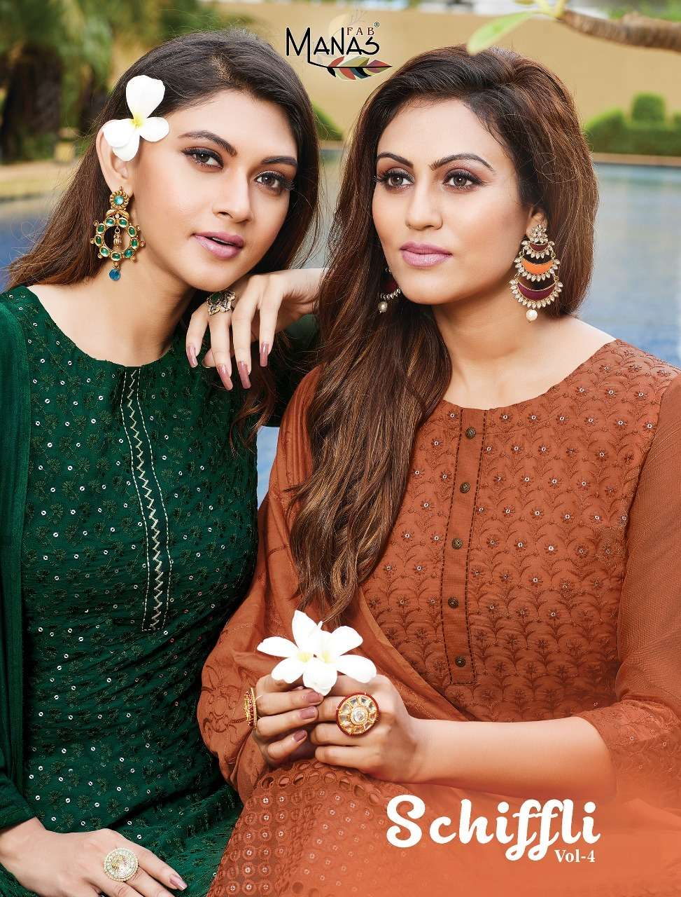 manas fab Schiffli Vol 4 Georgette With Embroidery Work Readymade Suits collection