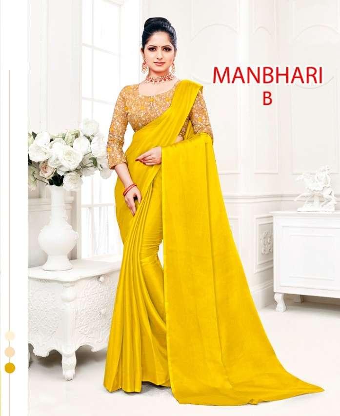 Manbhari moss chiffon regula wear saree collection