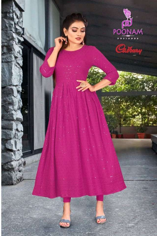Poonam desinger casbury Gown rayon lucknowi work kurti collection