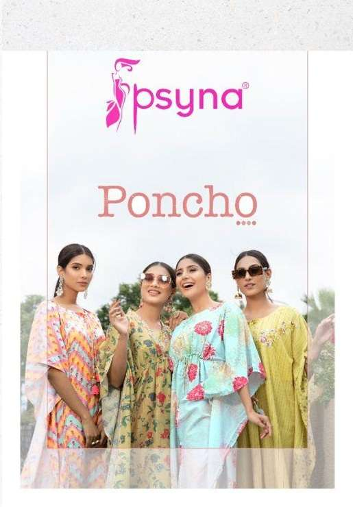 Psyna Poncho Fancy kaftan With Pant Collection
