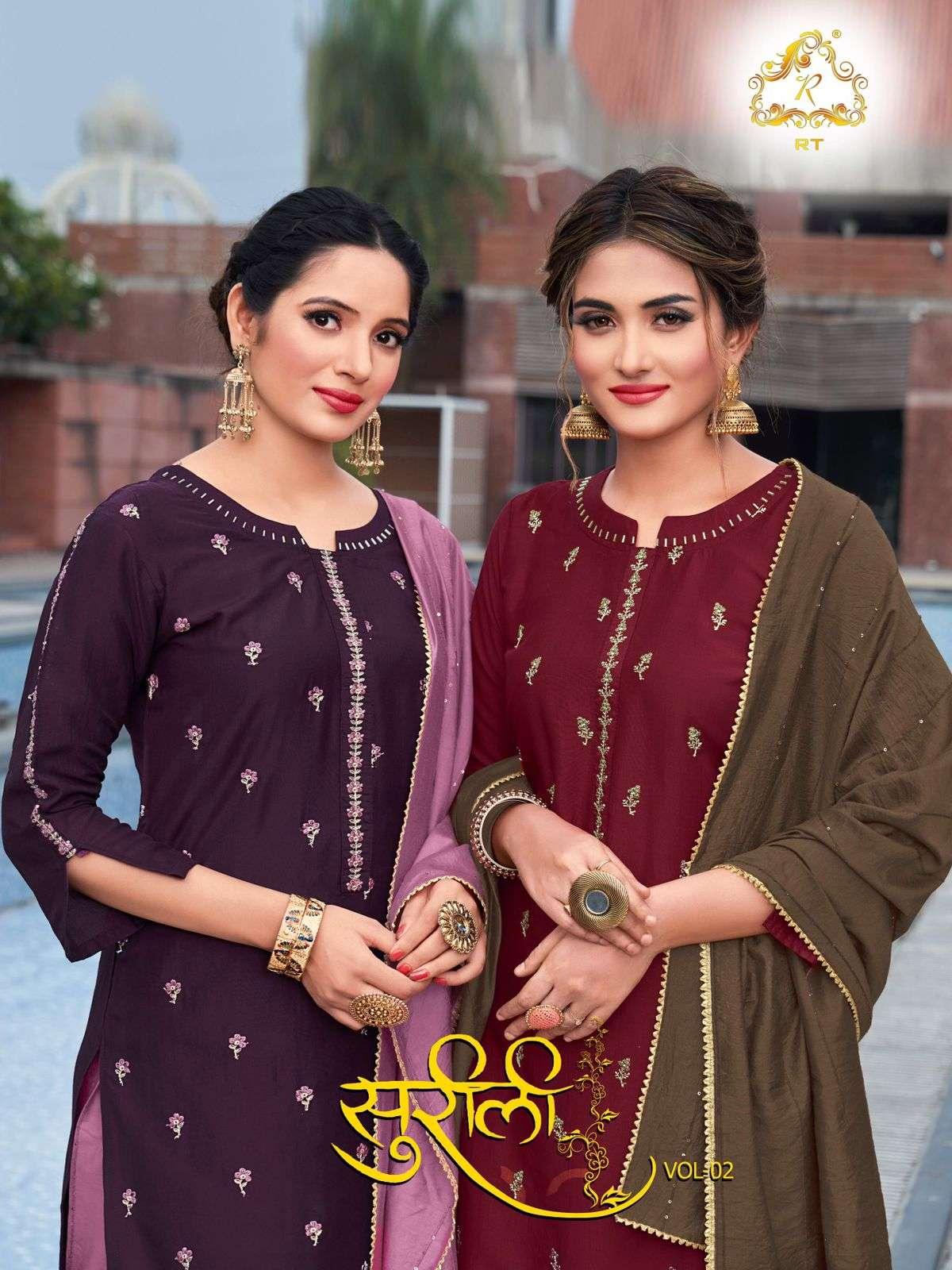 Rijiya Trends Surili Vol 2 Chinon Silk With Work Kurti With Pant Dupatta collection
