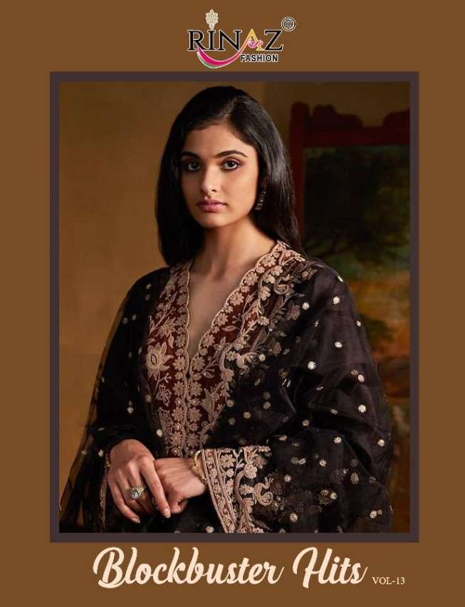 Rinaz Fashion Blockbuster hits Vol 13 Faux Georgette With Embroidery Work Pakistani Suits collection